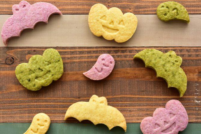 アレルギーや授乳中でも安心、卵乳小麦不使用の岐阜県美濃加茂市の「おやつのアトリエ モコ」が販売している、「ハロウィンクッキー」の写真。