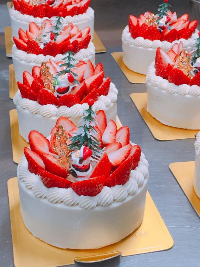 卵アレルギー、乳アレルギーや授乳中でも安心、名古屋、岐阜から多数来店する岐阜県美濃加茂市のケーキ屋、「卵、乳製品、白砂糖をつかわない おやつのアトリエ モコ」が販売している、「卵、乳、小麦、白砂糖不使用のクリスマスケーキ」の写真。