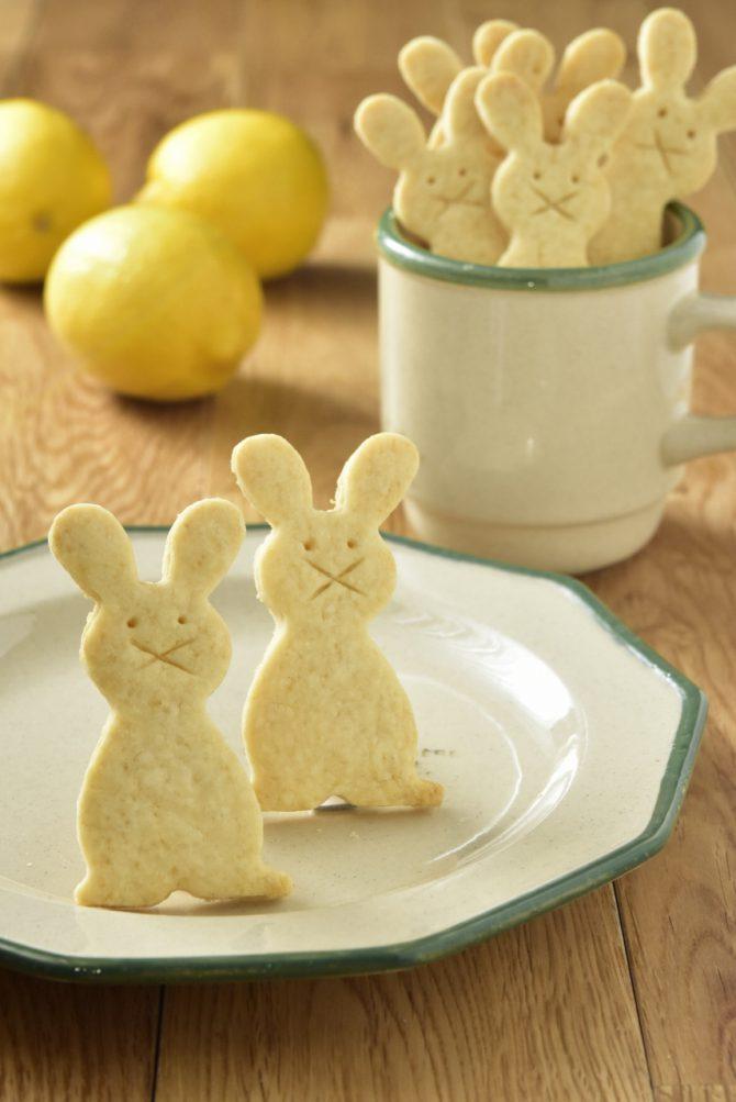 卵アレルギー、乳アレルギーや授乳中でも安心、名古屋、岐阜、多治見、各務原から多数来店する岐阜県美濃加茂市のケーキ屋、「卵、乳製品、白砂糖をつかわない おやつのアトリエ モコ」が販売している、「卵、乳、小麦、白砂糖不使用、グルテンフリーの有機レモンのうさぎさんクッキー」の写真。